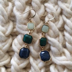 Green blue gold drop earrings